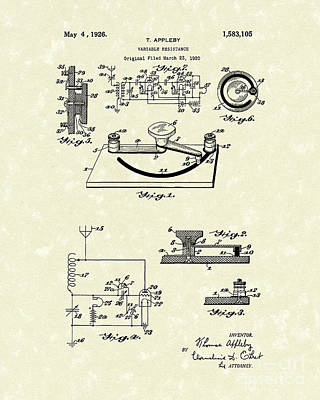 Resistor Drawing - Variable Resistance 1926 Patent Art by Prior Art Design