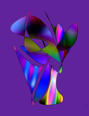 Multi Colored Digital Art - Vase And Flowers In Abstract Designs by Mario Perez