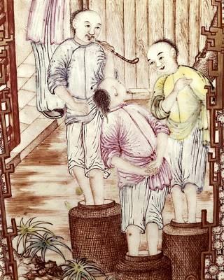 Ceramics Photograph - Vase Depicting Men Packing Tea by Everett