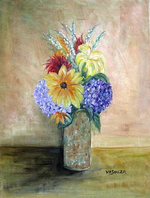 Vase Full Of Flowers Original by Virginia Souza