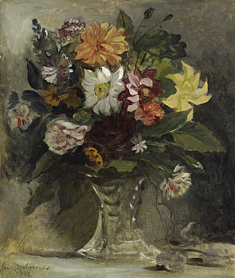 Vase Of Flowers, 1833 Print by Ferdinand Victor Eugene Delacroix