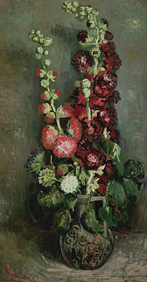 Vase Of Hollyhocks Print by Vincent van Gogh