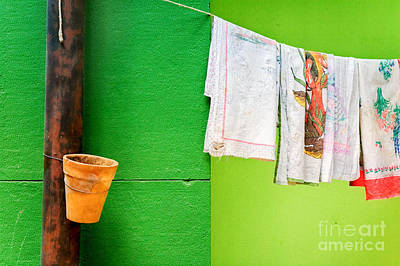 Minimal Photograph - Vase Towels And Green Wall by Silvia Ganora