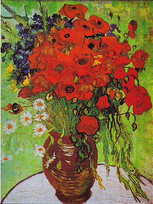 Vase With Daisies And Poppies Print by Celestial Images