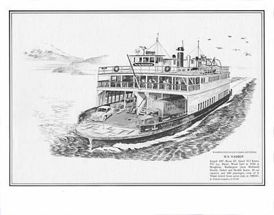 Seattle Drawing - Vashon Ferry Washington State Ferry System by Jack Pumphrey