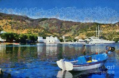 Sailing Painting - Vathi Beach In Sifnos Island by George Atsametakis