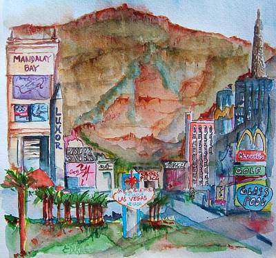Las Vegas Strip Painting - Vegas by Elaine Duras