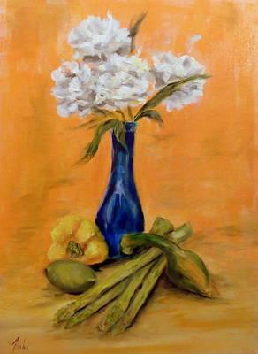 Asparagus Painting - Vegetable Flower Still Life by Anne Barberi