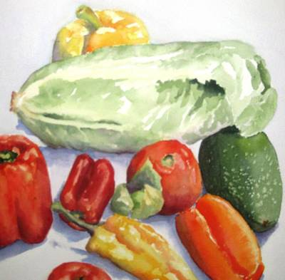 Pepper Painting - Vegetable Melange by Maria Hunt