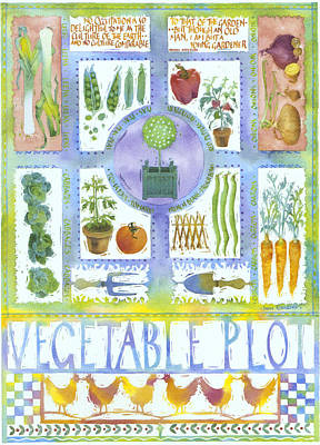 Carrot Painting - Vegetable Plot by Julia Rowntree