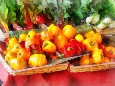 Vegetables - Peppers At Farmers Market Print by Susan Savad