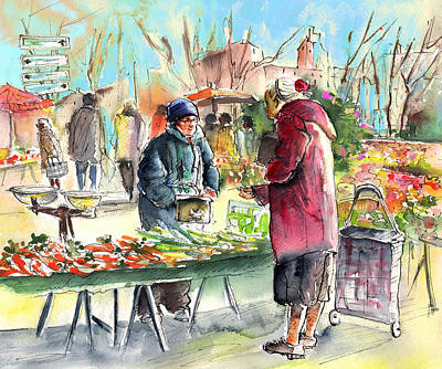 Carrot Drawing - Vegetables Seller In A Provence Market by Miki De Goodaboom