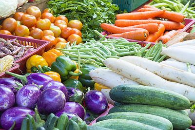 Vegetables Stand In Wet Market Print by JPLDesigns