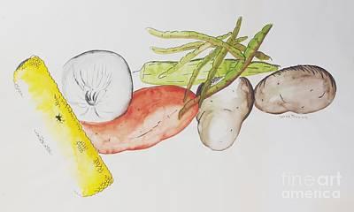 Green Beans Painting - Veggies by Teresa Trimble