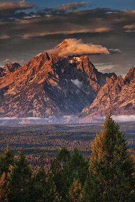 Wyoming Photograph - Veiled Tetons by Mark Kiver