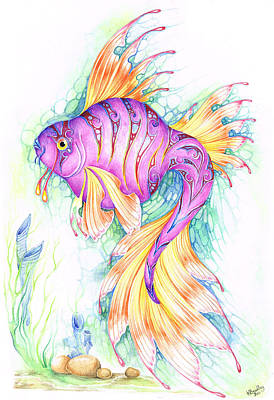 Koi Painting - Veiltail Fairy Fish by Heather Bradley