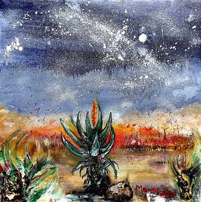 Aloe Painting - Veldfire  And Aloes by Meyer Van Rensburg