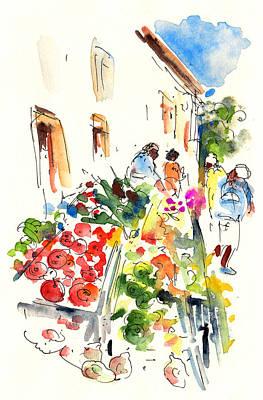 Vegetable Market Drawing - Velez Rubio Market 03 by Miki De Goodaboom