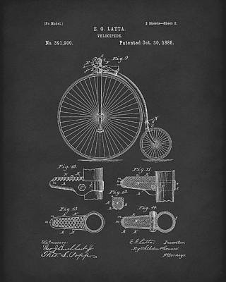 Bicycle Drawing - Velocipede Latta 1888 Patent Art Black by Prior Art Design