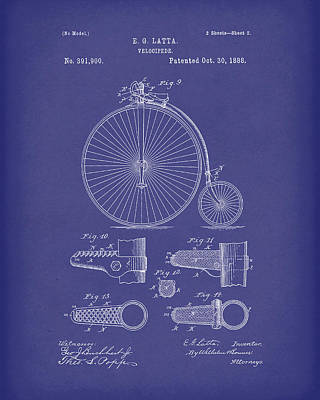 Bicycle Drawing - Velocipede Latta 1888 Patent Art Blue by Prior Art Design