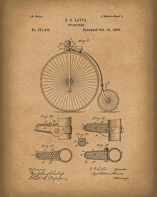 Bicycle Drawing - Velocipede Latta 1888 Patent Art Brown by Prior Art Design