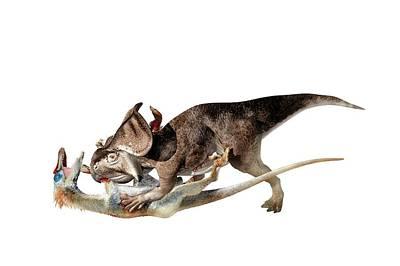 Velociraptor Attacking Protoceratops Print by Jose Antonio Pe�as