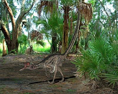 Velociraptor Dinosaur Print by Friedrich Saurer