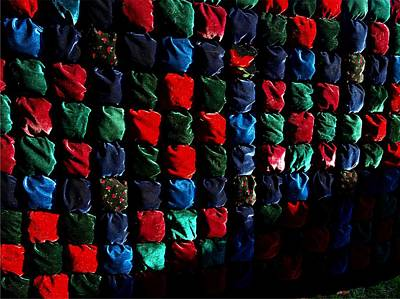 Home Made Quilts Photograph - Velvet Biscuit Quilt by Kathleen Palermo