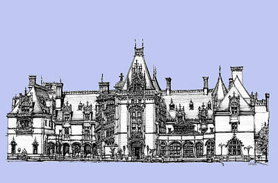 Asheville Artist Drawing - Venderbilt's Biltmore In Blue by Building  Art