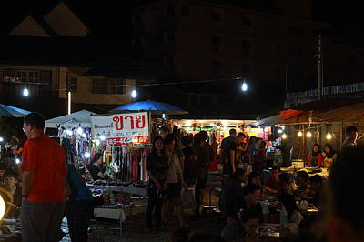 Market Photograph - Vendors - Night Street Market - Chiang Mai Thailand - 011314 by DC Photographer