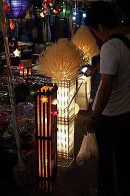 Vendors - Night Street Market - Chiang Mai Thailand - 011340 Print by DC Photographer