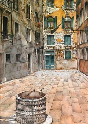 Venetian Courtyard 02 Elena Yakubovich Print by Elena Yakubovich