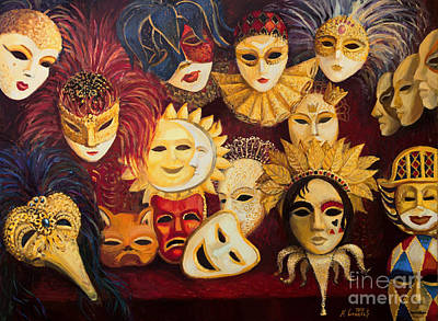 Venetian Masks Print by Kiril Stanchev