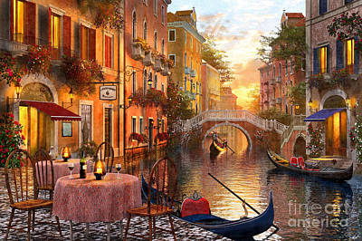 Canals Digital Art - Venetian Sunset by MGL Meiklejohn Graphics Licensing
