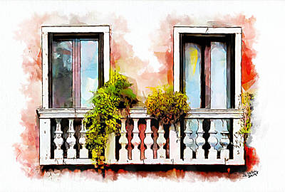 Flower Painting - Venetian Windows 5 by Greg Collins