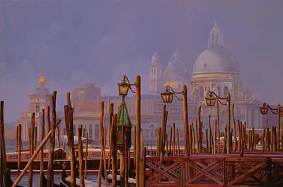 Golden Painting - Venezia E La Nebbia by Guido Borelli