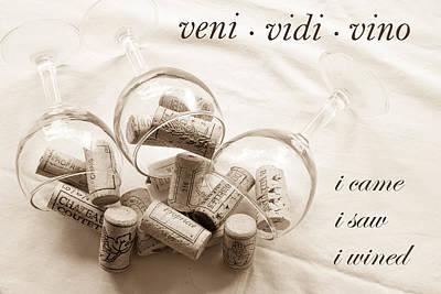 Images Of Wine Bottles Photograph - Veni Vidi Vino Toned by Georgia Fowler
