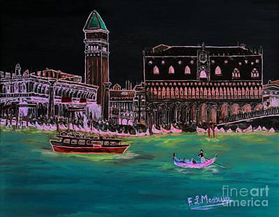 Venice At Night Print by Loredana Messina