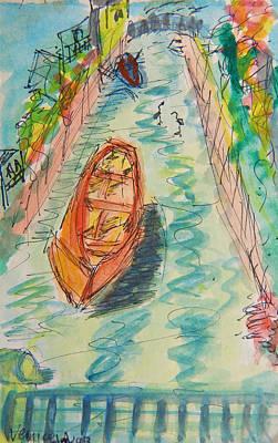 Venice Beach Drawing - Venice Beach Canal by Audrey Franc