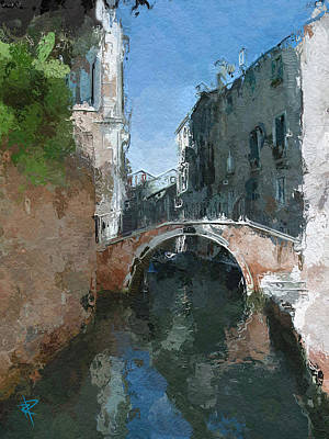Brick Building Mixed Media - Venice Bridge Two by Russell Pierce