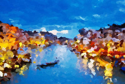 Regalo Painting - Venice By Night Abstract Realism by Georgiana Romanovna