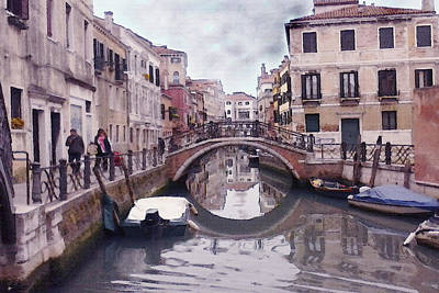 White Painting - Venice Cannaregio Canal - Oil by Art America Online Gallery