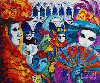 Bonnet Painting - Venice Carnival by Mona Edulesco