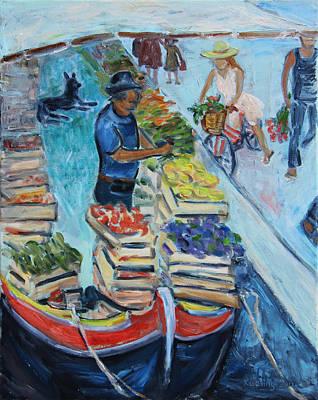 Venice Floating Farmers' Market Original by Xueling Zou