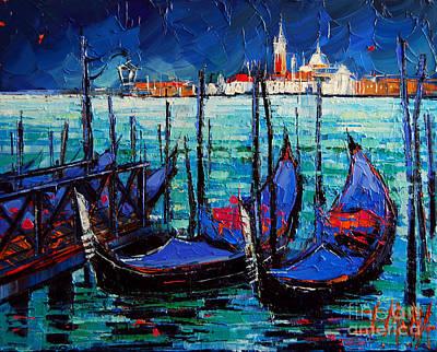 Venice Gondolas And San Giorgio Maggiore Print by Mona Edulesco