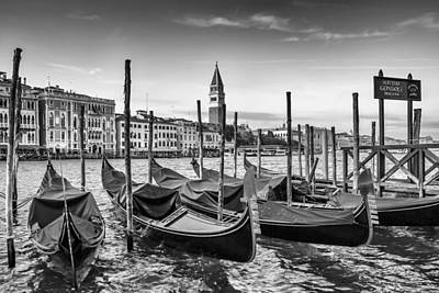 Gondola Photograph - Venice Grand Canal And Goldolas In Black And White by Melanie Viola