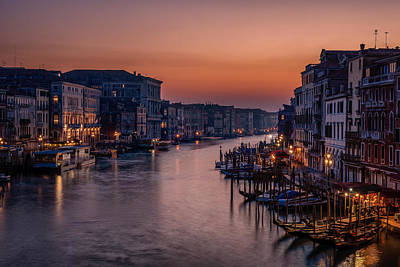Tourist Attractions Photograph - Venice Grand Canal At Sunset by Photography By Karen