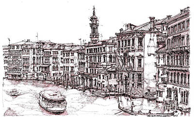 Venice In Pen And Ink Print by Adendorff Design