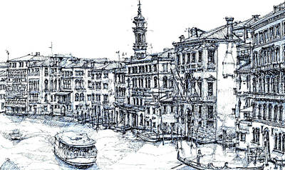 Venice Ink In Blue Print by Adendorff Design
