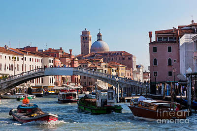 Old Photograph - Venice Italy A Bridge Over Grand Canal by Michal Bednarek
